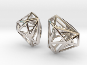 Twisted Triangle Earrings in Rhodium Plated Brass