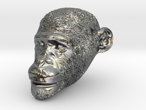 Head Chimp in Fine Detail Polished Silver