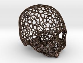 Voronoi Female Skull [real size] in Polished Bronze Steel
