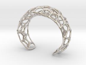Voronoi Webb Fibre Cuff in Rhodium Plated Brass