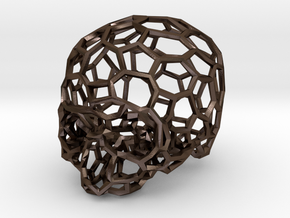 Voronoi Skull [1:0.5] in Polished Bronze Steel