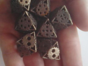 Gear Dice, 8-sided die made of gears in Polished Bronze Steel