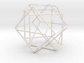 3 Cube Compound, round struts in White Natural Versatile Plastic