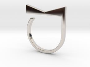 Adjustable ring. Basic model 4. in Rhodium Plated Brass