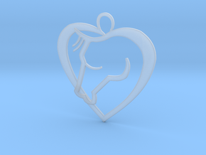 Heart Horse Pendant in Smooth Fine Detail Plastic