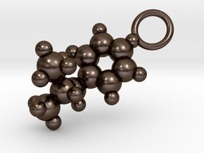 Methamphetamine Molecule Pendant - 20mm  in Polished Bronze Steel