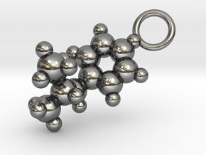 Methamphetamine Molecule Pendant - 20mm  in Polished Silver