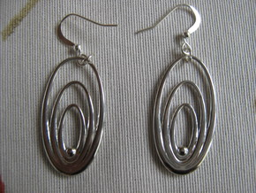 Three Torus Earrings in Rhodium Plated Brass