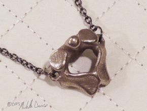 Anatomical Vertebra Axis (C2) Pendant in Polished Bronzed Silver Steel