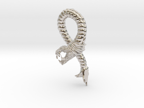 Viper Fish Pendant  in Rhodium Plated Brass