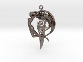 Sword Maiden Pendant in Polished Bronzed Silver Steel