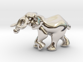 Elephant 1'' in Rhodium Plated Brass