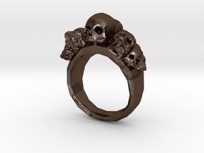 Pile of Skulls Ring Mens Size 20 in Polished Bronze Steel