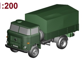 W50 Pritsche+Plane /flat bed+canvas (1:200) in Smooth Fine Detail Plastic