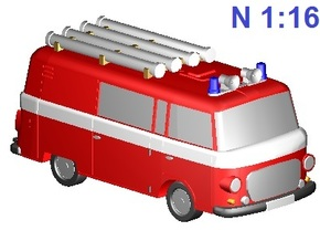 Barkas-Feuerwehr /fire brigade (N 1:160) in Smooth Fine Detail Plastic