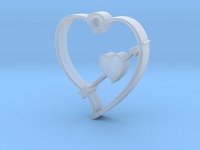 Cupid's Shot Heart Pendant  in Smooth Fine Detail Plastic