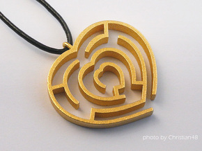 Heart maze pendant in Polished Gold Steel