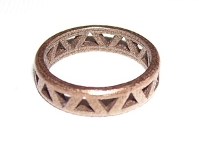 Slender Triangle Pattern Ring in Polished Bronze Steel
