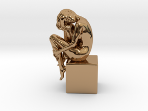 Girl On Box in Polished Brass
