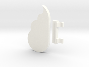 Cloud Keychain Holder in White Processed Versatile Plastic