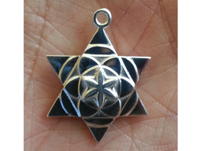 Star Seed Pendant in Polished Silver