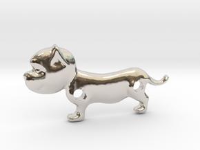 Bulldog Pendant in Rhodium Plated Brass