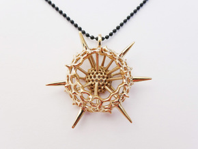 Large Spumellaria Radiolaria Pendant in Polished Bronze
