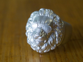 Lion Ring (man's) in Natural Silver