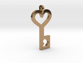 Heart Key Pendant in Polished Brass
