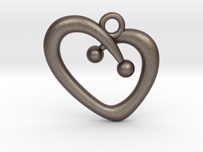Stylish Heart in Polished Bronzed Silver Steel
