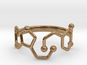 Dopamine & Serotonin Molecule Ring - Size 8 in Polished Brass