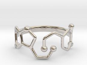 Dopamine & Serotonin Molecule Ring - Size 8 in Platinum