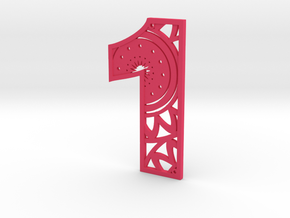 House Number 1 in Pink Processed Versatile Plastic