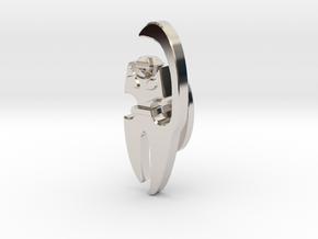 Cat Cufflink in Platinum