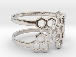 Honeycomb Ring in Rhodium Plated Brass: Small