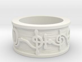 """T'hy'la"" Vulcan Script Ring - Embossed Style in White Natural Versatile Plastic: 5 / 49"