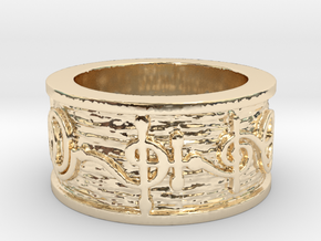 """T'hy'la"" Vulcan Script Ring - Embossed Style in 14k Gold Plated Brass: 5 / 49"