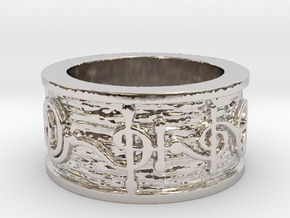 """""""T'hy'la"""" Vulcan Script Ring - Embossed Style in Rhodium Plated Brass: 5 / 49"""