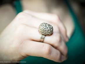 Intelligent Brain Ring in Polished Bronzed Silver Steel
