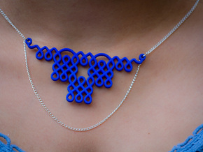 Indian Style Rangoli pendant/Necklace in Blue Processed Versatile Plastic