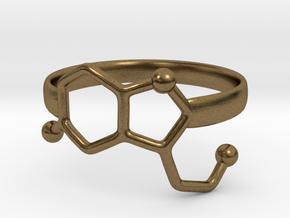 Serotonin Molecule Ring - Size 7 in Natural Bronze
