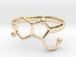 Serotonin Molecule Ring - Size 7 in 14k Gold Plated Brass