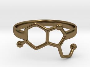 Serotonin Molecule Ring - Size 8 in Polished Bronze
