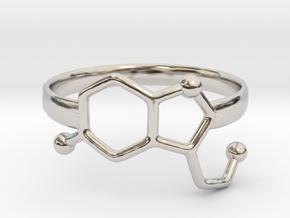 Serotonin Molecule Ring - Size 8 in Rhodium Plated Brass