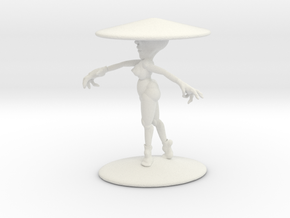 Girl With Hat 4''  in White Natural Versatile Plastic