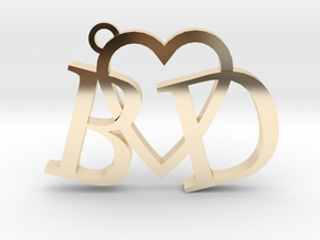 B love D (Key chain - Pendant) in 14K Yellow Gold