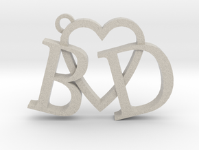 B love D (Key chain - Pendant) in Natural Sandstone
