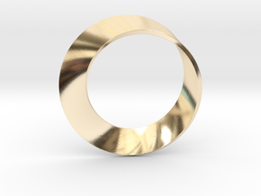 0153 Mobius strip (p=1, d=5cm) #001 in 14K Yellow Gold