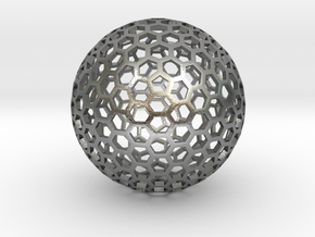 Polyhedra D75mm in Natural Silver