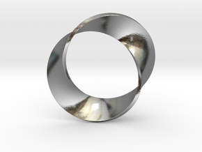0155 Mobius strip (p=2, d=5cm) #003 in Polished Silver